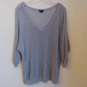 Torrid Silver V-Neck Dolman Shimmer Sweater